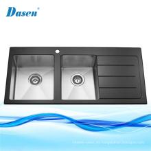 Fregadero de cocina de cristal negro templado endurecido acero inoxidable moldeado doble del tazón de fuente