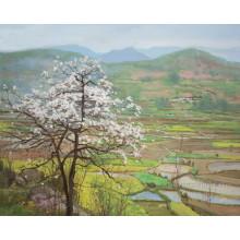 Decoración del hogar Pintura al óleo del paisaje de la aldea al por mayor (ESL-097)