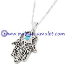 Hamsa Star Of David Rhinestones Necklace