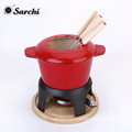 Enameled Cast Iron Non-Electric Fondue Set - Red, Deep Red