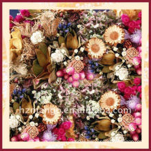 100% silk square scarves with flower digital print