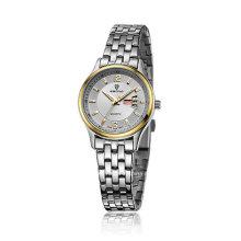 Baratos de acero inoxidable semana y fecha de visualización par reloj de pulsera