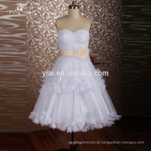 RQ101 China Custom Made Knee Length Vestido de baile branco Vestidos de casamento curto com faixa