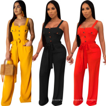 Hot Selling Fashion Loose Jumpsuit Women′s Fashion Casual Overalls