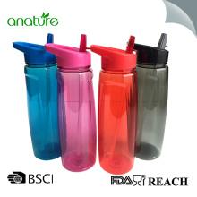 Tritan-Wasser-Flasche 750ML Plastik mit Stroh-Deckel