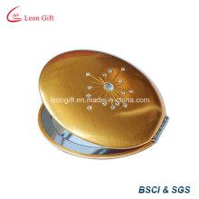 Meilleure vente de miroir de maquillage beauté or ronde pliante