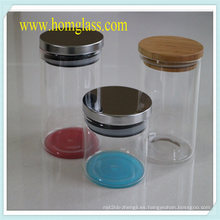 Cocina cristalería vidrio tarro de almacenamiento de información de vidrio de Borosilicate a prueba de calor
