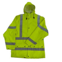 PU Coated Hooded Yellow Reflective PU Raincoat/Safety Clothing