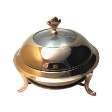 Réchauffeur de nourriture de restaurant d'acier inoxydable d'or d'or de plat de friction de buffet d'hôtel