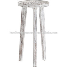 Solid Wood Round White Finish Bar Stool