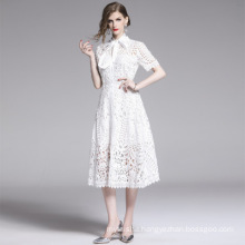 Summer French Vintage Ladies Hollow Water-Soluble Dress Sping 2020 New Arrived