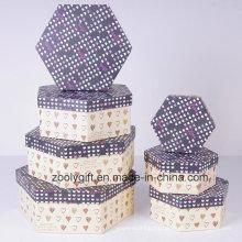 Cajas de almacenamiento personalizadas Hexágono impresas de papel de regalo de cartón Set