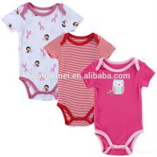 Lovely cartoon 2 años de edad los niños 3 pack bebé niña ropa mameluco impreso bebé mameluco