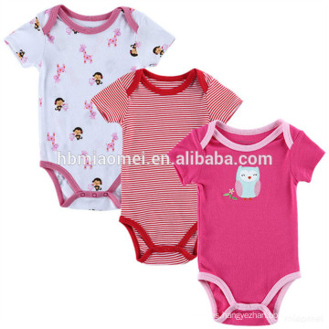 Lovely cartoon 2 years old kids 3 pack baby girl clothes romper suit printed baby romper