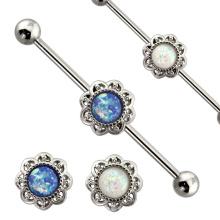 Échantillon gratuit Body Piercing Bijoux 14G Blanc Bleu Opale Fleur Industrielle Barbell Piercing Bijoux
