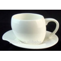 EU Market elegant Ceramic tea cup and saucer heart shaped with handle