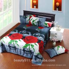 Vente chaude Plancher plat bon marché nouveau design élégant impression fleuriste couvert de lit en couleur haute qualité plaques de lit 3d BH10