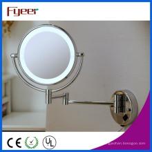 Miroir de maquillage de salle de bains pliable fixé au mur ultra mince de Fyeer LED