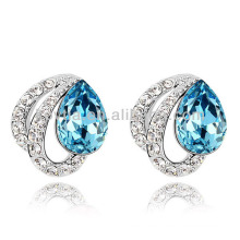 Sliver earrings woman white gold jewelry blue gems stone earring cz diamonds earring findings