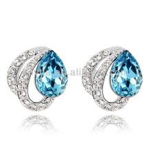 Sliver brincos mulher jóias de ouro branco jóias azul pedra brinco cz diamantes brinco descobertas