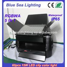 DMX 60pcs 15w rgbwa 5 in 1 IP65 waterproof dmx rgb led wall washer