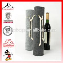 Bolso del regalo del tenedor del vino de la bolsa de la botella del totalizador del vino del fieltro con la cuerda gruesa