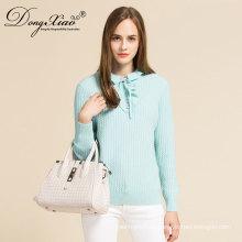Neue Design Mädchen Bule Farbe Petal Kragen Pullover Woll Kaschmir-Pullover mit gutem Preis