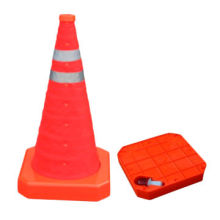 Folding cone, Full fluorescent orange, waterproof fabric, flatted for easy storage in tool box