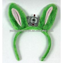 Beliebt bei Kindern grüne Kaninchen Ohren geformt Plüsch Krone Haarband für Hallowen