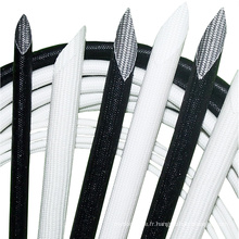 Douille de tuyauterie d'isolation en fibre de verre recouverte de silicone tressé blanc