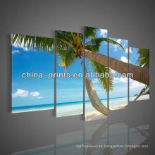 Ready Wall Hanging Art 5 pcs pinturas de lona de paisaje de playa