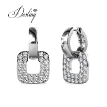 Quality Brass Jewelry 2021 Classic Square Huggie Hoop Earrings with Finest Crystal