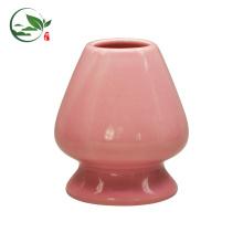Juego de Matcha de porcelana de color rojo, bonito Juego de mesa de bambú de Matcha, soporte de batido