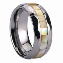 Men's Tungsten Rose Gold Multi-faceted Square Ring