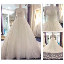 Elegant Vestidos De Noiva Real Cap Sleeve 3D Flower Crystal Appliques Puffy White Lace Wedding Dress Detachable Tail A216