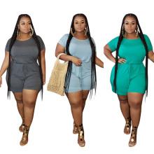 C3061 Fashion casual loose solid color lace-up plus women romper jumpsuit 2020 4xl 5xl 6xl 7xl