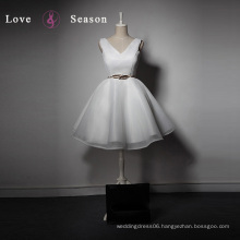 LSQ026 Cheap V neckline organza knee length ladies tops vestidos de fiesta barbie dress up games for girls