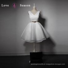 LSQ026 Cheap decote de decote organza joelho tops vestidos de fiesta barbie vestir jogos para meninas