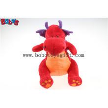 Heißer Verkaufs-weicher Plüsch-rotes Dinosaurier-Spielzeug mit purpurrotem glänzendem Flügel Bos1201