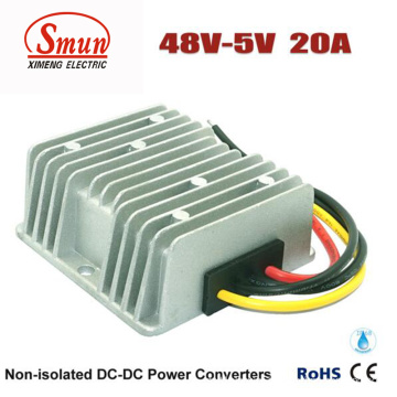 48VDC to 5VDC 20A 100W DC-DC Converter with Waterproof IP68