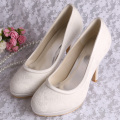 Wedopus Ivory Lace Wedding Shoes Platform