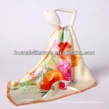 "34 ""x34"" оптовый бежевый цветок шелк турецкий foulard шарф"