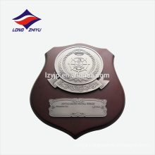 Fashionable nickel color wooden award plaque with stand