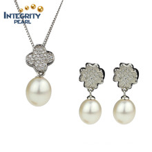 Freshwater Pearls Set Original Pearl Sets AAA 8-9mm Drop Bridal Jewelry Pearl Set