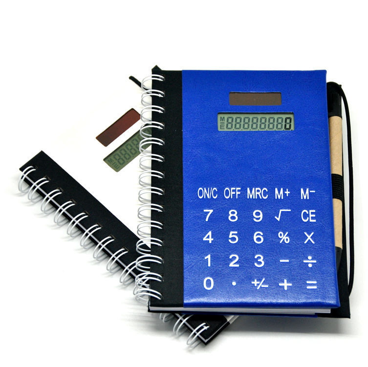 Calculadora de notebook Excutive de capa dura com caneta