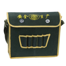 Canvas Tool Bag One-Shoulder Woodworking Tool Bag Printable Logo Green Canvas Electrician Tool Bag