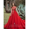 2017 Último vestido de noite formal sdesign vermelho vestido de noite com contas pesadas para festa formal