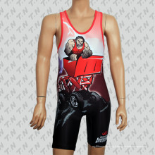 Personnalisé Sublimation Tank Top Wrestling Singlet with Big Blessure
