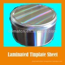 PET film laminated EN10202 standard prime electrolytic tinplate MR 2.8/2.8 tinning bright finish T4CA for food can production