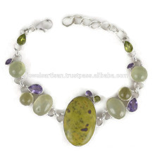 Beautiful Stichtite And Multi Gemstone 925 Sterling Silver Bracelet Jewelry
